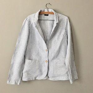 Tahari Pure Linen Striped Blazer Jacket • M